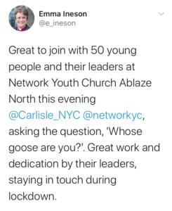 Bildet viser en tweet fra biskop Emma hvor hun sier det var flott å være med på Ablaze.