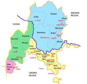 Bildet viser kartet over Benishangul-Gumuz regionen; Kamashi sonen, hvor prosjektet arbeider er gul