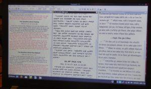PS skjerm med 3 spalter - eler av Markus- evangeliet på tre språk
