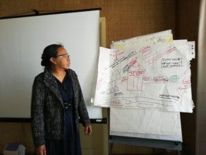 Bildet viser en kvinne som forklarer resultatet til et gruppearbeid