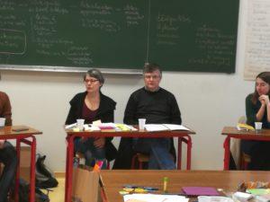 På bilde vises Sophie Schlumberger sammen med Christophe Singer, professor i praktisk teologi