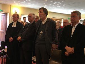 Pastor Christian Tanon, Monseigneur Michel Santier, Luthersk Inspektør av Paris Jean-Frédéric Patrzynski og Regionspresident pastor Bertrand de Cazenove,