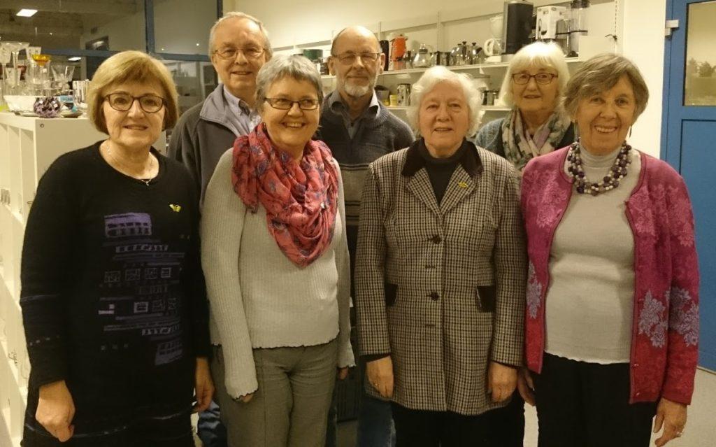 På årsmøtet i NMS Gjenbruk Ålesund 1. februar ble det valgt nytt styre for NMS Gjenbruk Ålesund. Foran fra venstre Vigdis Vartdal, Berit Nerheim Andersen (vara) Oddveig Øygard, Signe Fagerli Rise Bak frå venstre: Bjørn Sveås, Erling Aaslid, Helene Røsvik.(vara). Reidun Vigestad Berge (vara) var ikke til stede da bildet ble tatt.